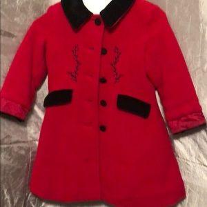 Girls London Fog Red Wool Pea Coat, Size 2T